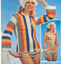 Digital Download PDF Vintage Crochet Pattern Ladies Women's Bikini, Tunic Top & Headscarf 32 - 38